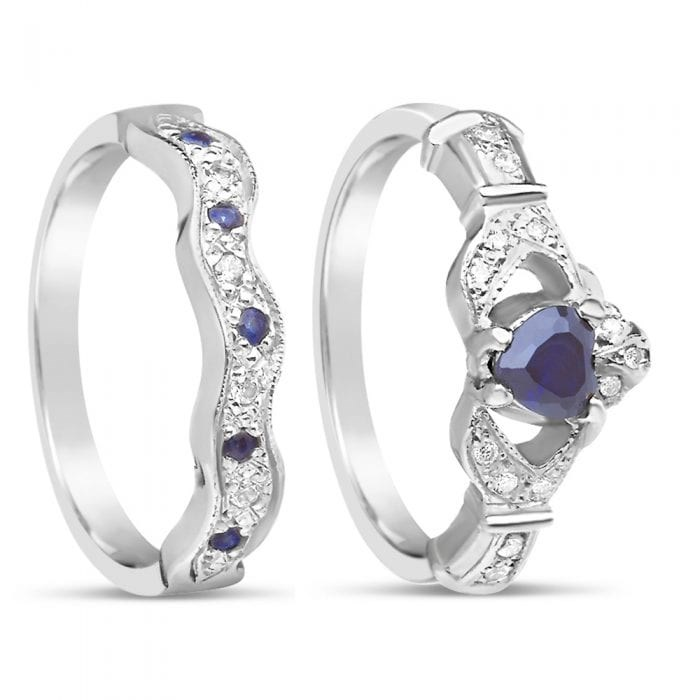 0a353b9bc Sapphire and Diamond Claddagh Ring with Matching W - The Celtic Shop